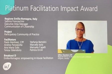 La Regione Emilia-Romagna vince ilPlatinumFacilitationImpact Awards
