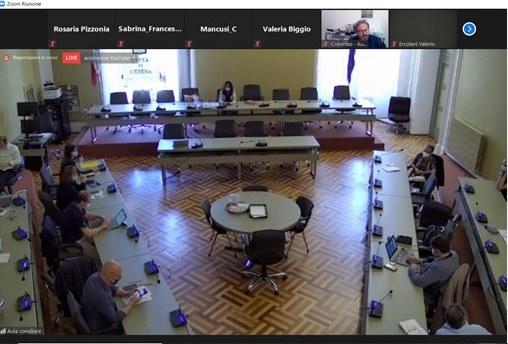 Panoramica dell'aula consiliare del comune di Cesena