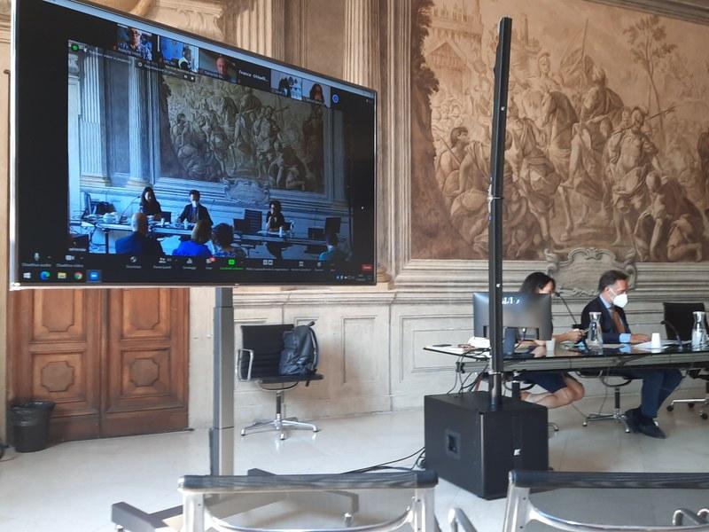 Incontro interprovinciale in videoconferenza e in presenza dalla sala degli Anziani Comune di Bologna